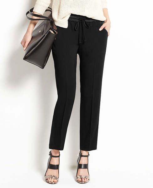 Take the slouchy style to work with these crepe drawstring pants in black from Ann Taylor ($98).  Top with a blazer and some heels, and you are looking corporate chic.