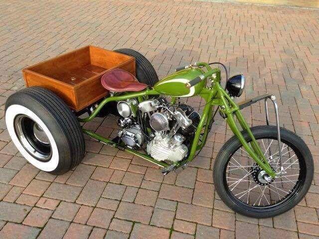 Awesome Harley Davidson Knucklehead Trike Servi Car Chopper