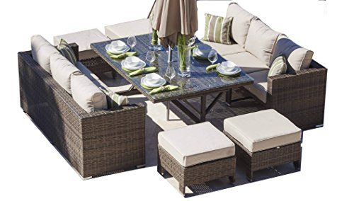Rattan Outdoor Sofa Set Weave Modular Dining Set Outdoor Garden