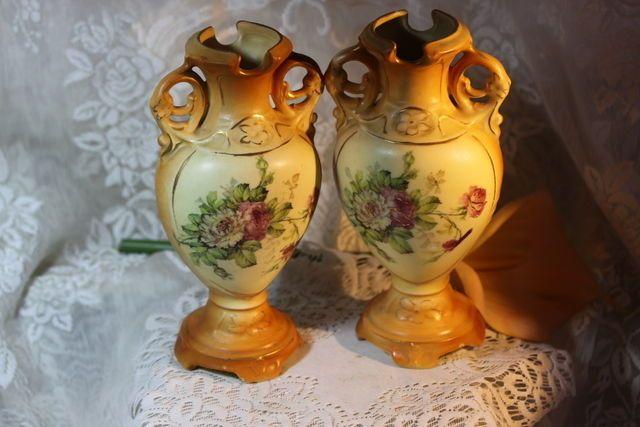 Vintage Pair Porcelain Austrian Vases Great Set 8 Inches Tall Mantle