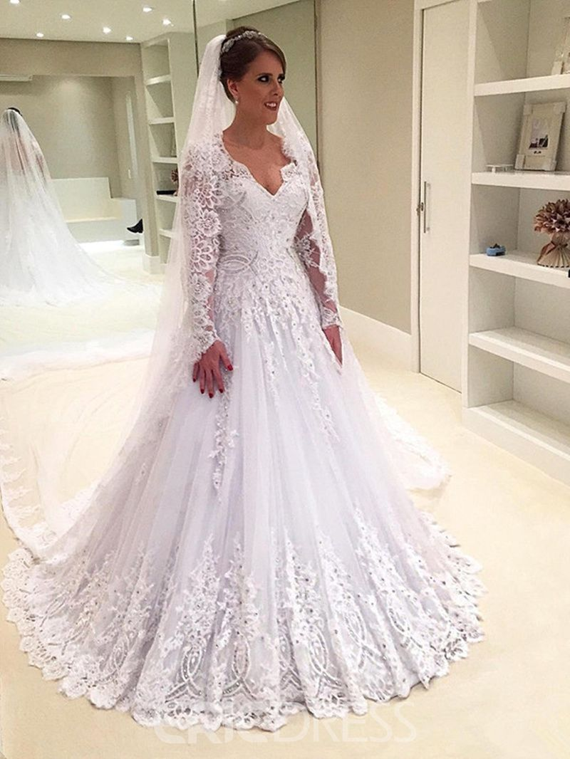A line long sleeves lace v neck wedding dress wedding gowns
