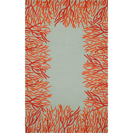Liora Manne Spello Orange Coral Border Orange/Blue Outdoor Area Rug