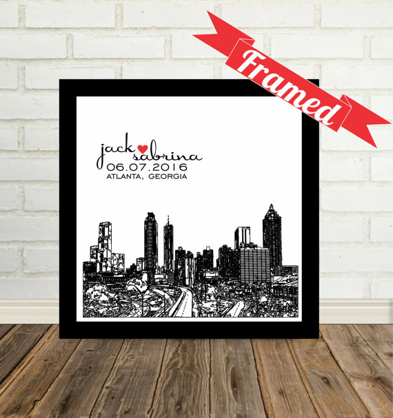 Contemporary Wedding Gifts: Modern Wedding Gift City Skyline Personalized FRAMED Art