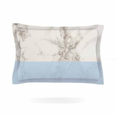 "Suzanne Carter ""Marble And Blue Block"" Modern Gray Pillow Sham - KESS InHouse  - 1"