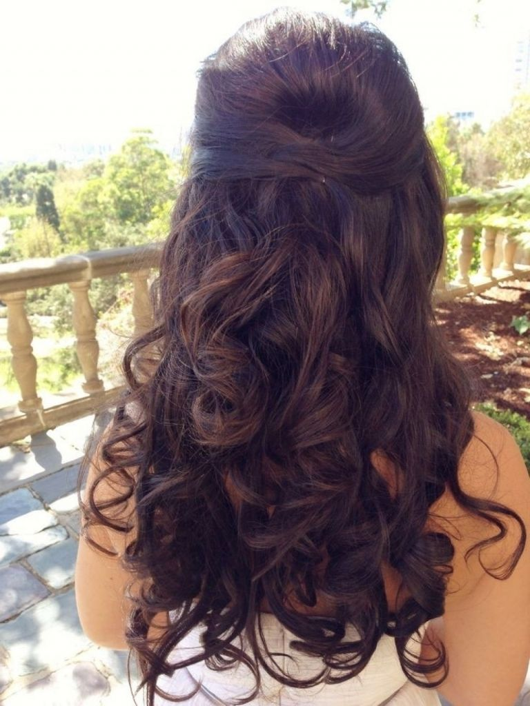 image result for wedding hairstyles curls up half down