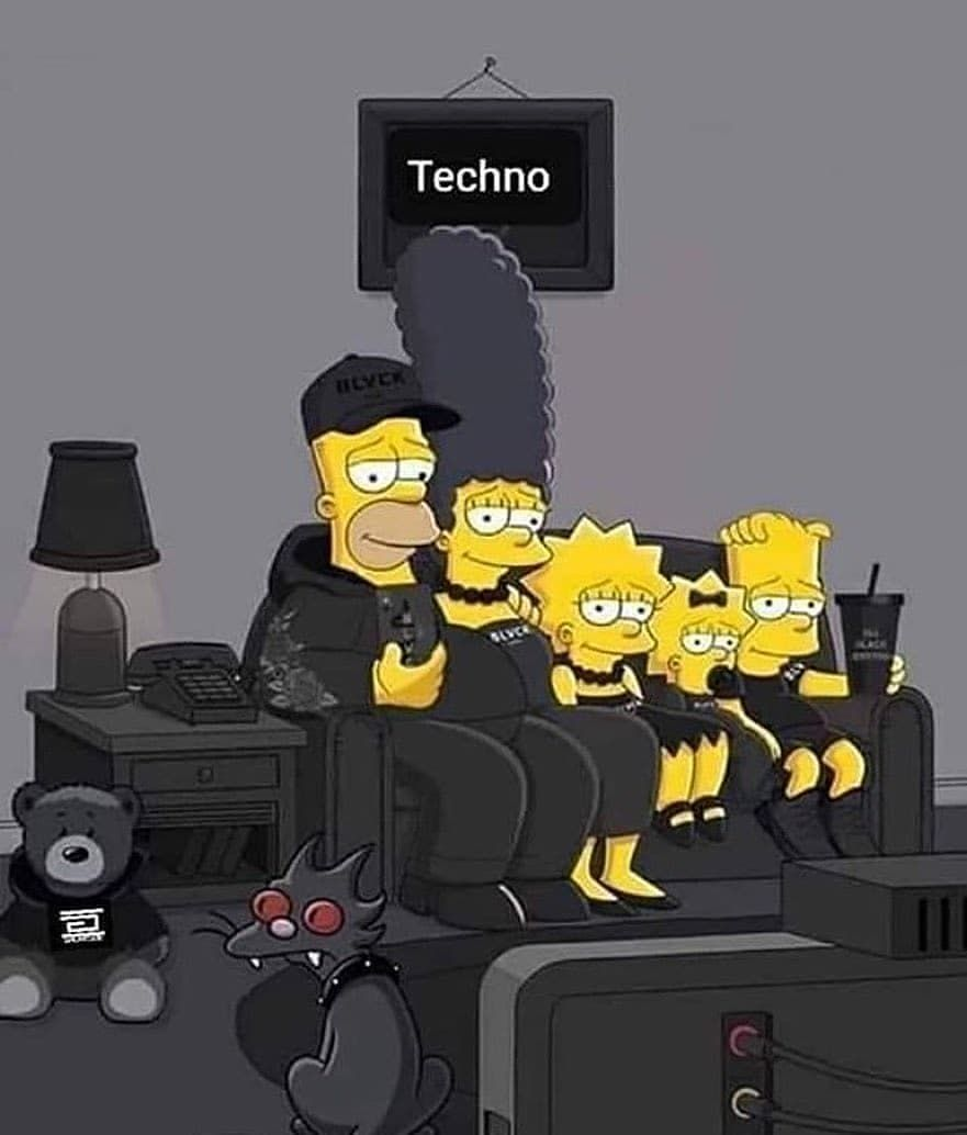 "Deeper Techno ♫♪ on Instagram: ""🖤 Techno Simpsons family 🖤 . #homersimpson #margesimpson #bartsimpson #lisasimpson #techno #technolove #technomusic #technopeople #technodj…"""