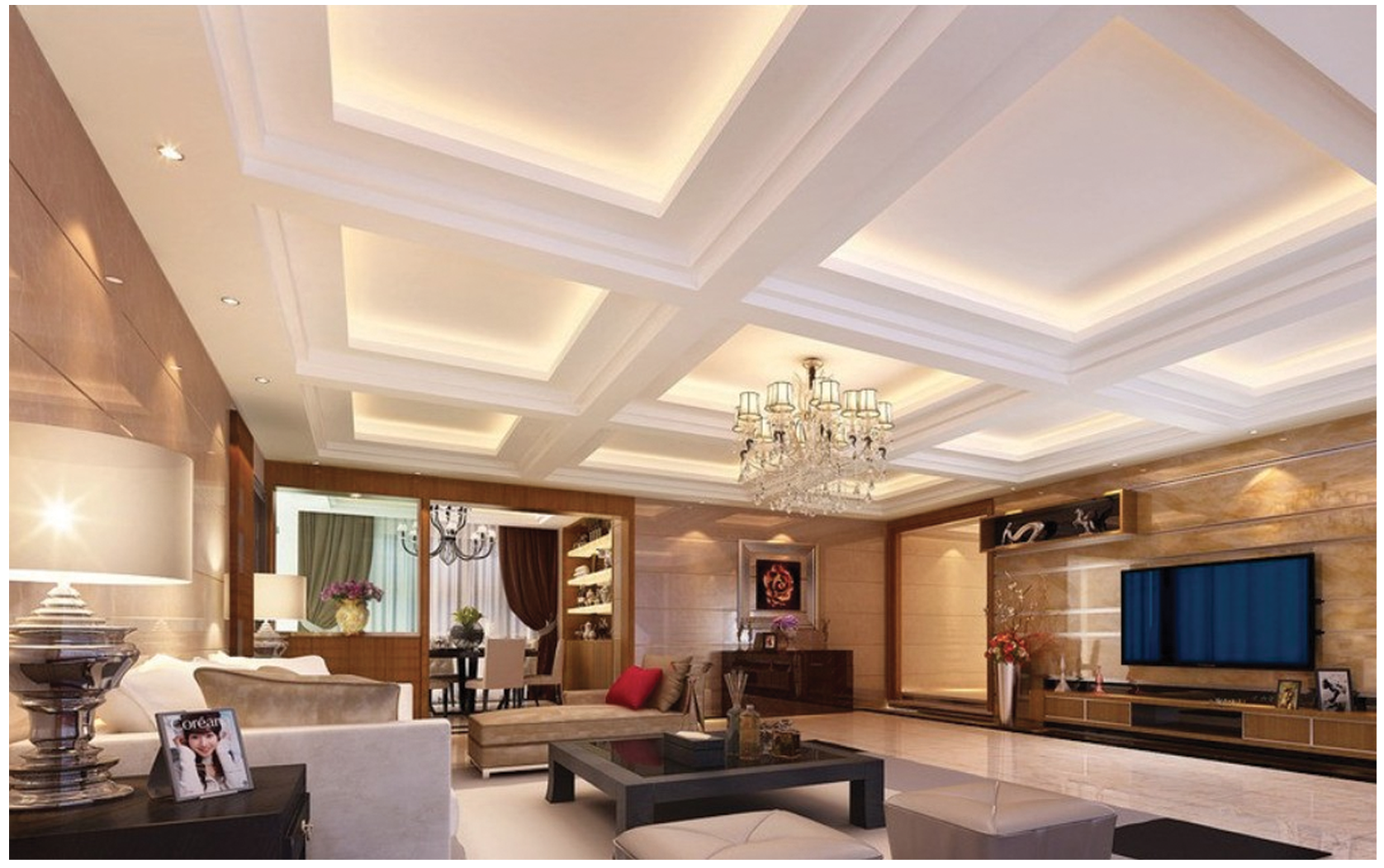 WHITE COFFER CEILING WITH COVE LIGHTING