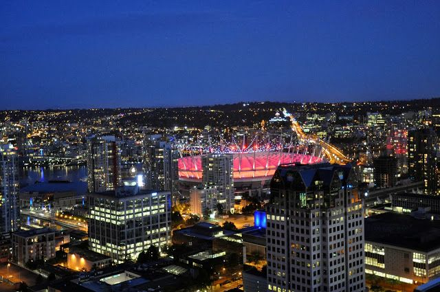 View of BC Place at night from The Vancouver Lookout in Vancouver, Canada