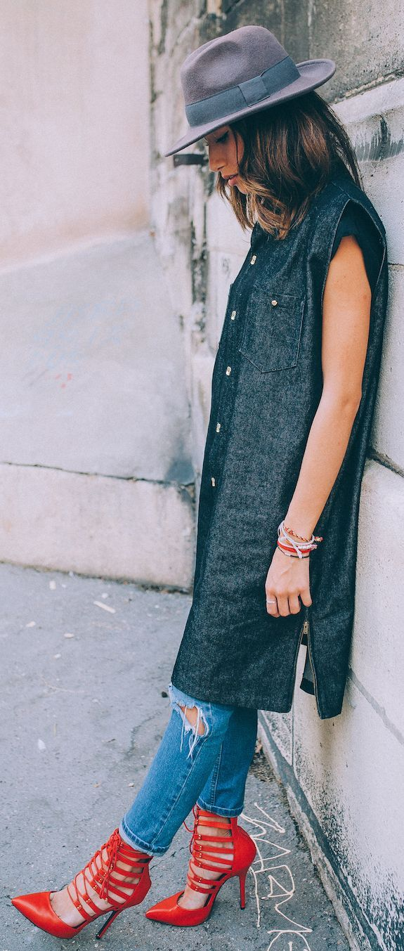 Dark Grey Denim Sleeveless Duster