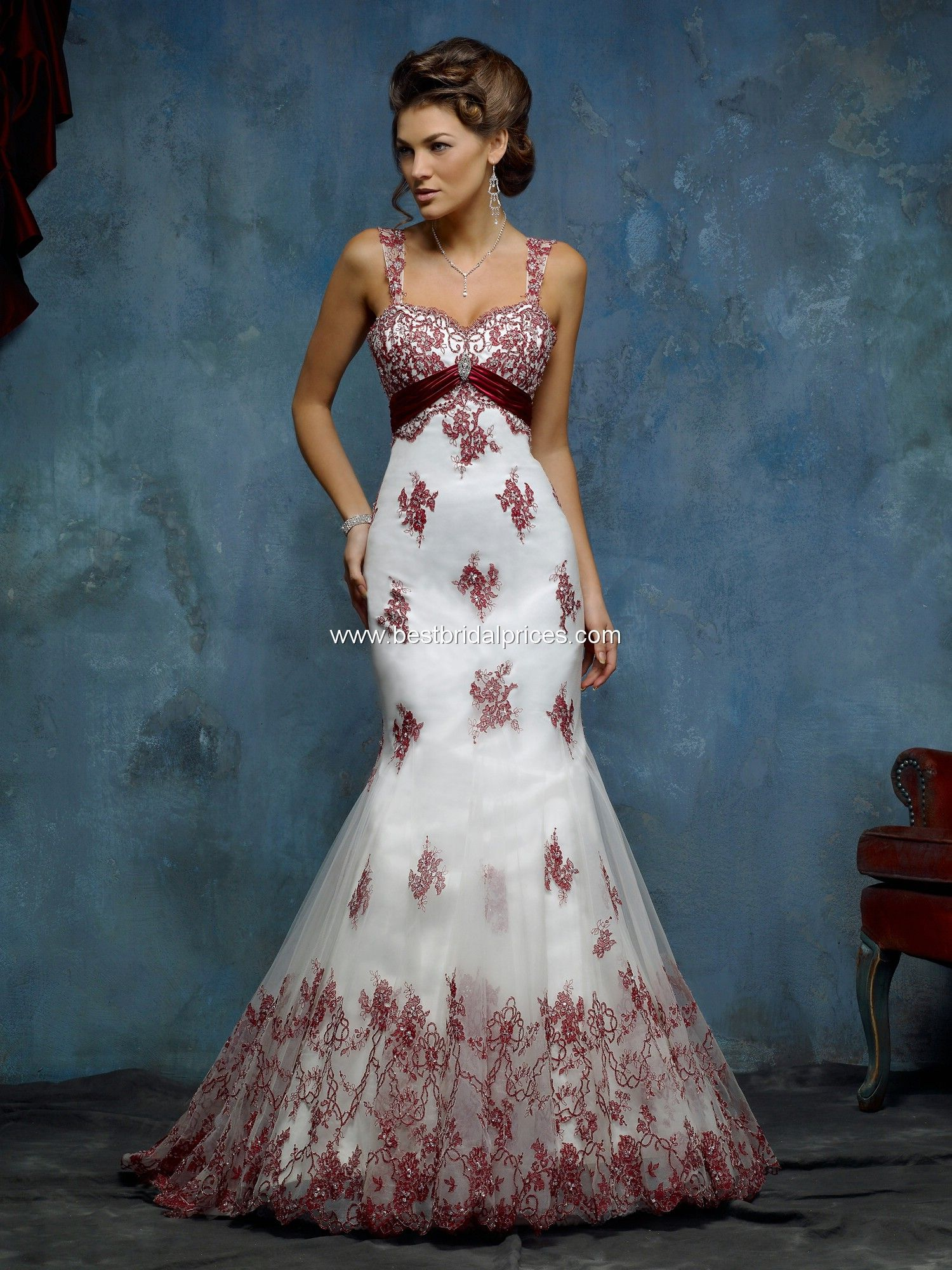 red lace wedding dress | Red Lace wedding Dress Online Sale Take ...