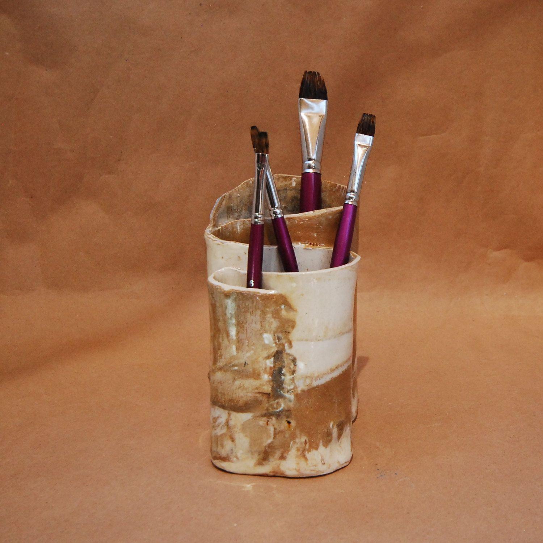 Pottery Toothbrush Holder, Pencil Holder, Art Paintbrush