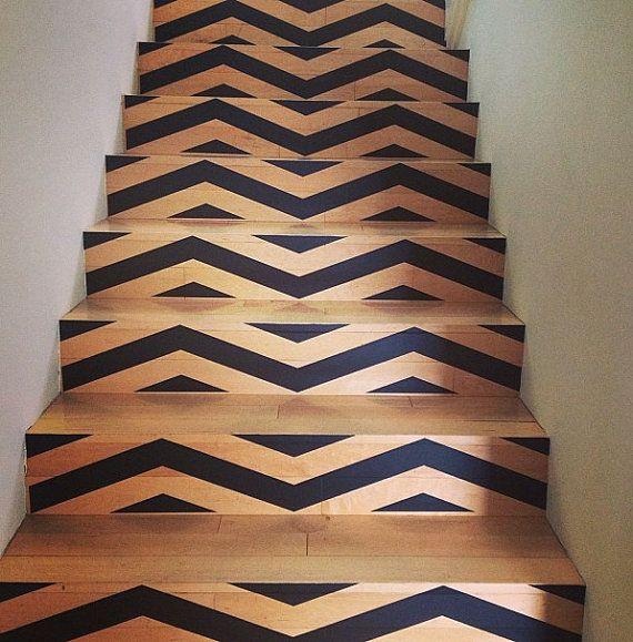 chevron vos escaliers amovibles fond d 39 cran wall sticker vinyle decal chevrons pais. Black Bedroom Furniture Sets. Home Design Ideas