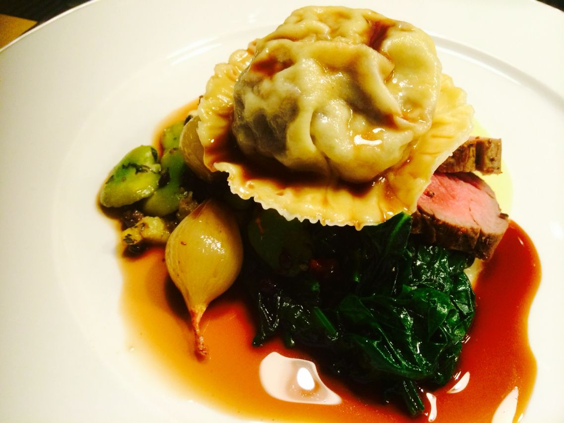 Fillet beef, oxtail ravioli, creamed potato, spinach
