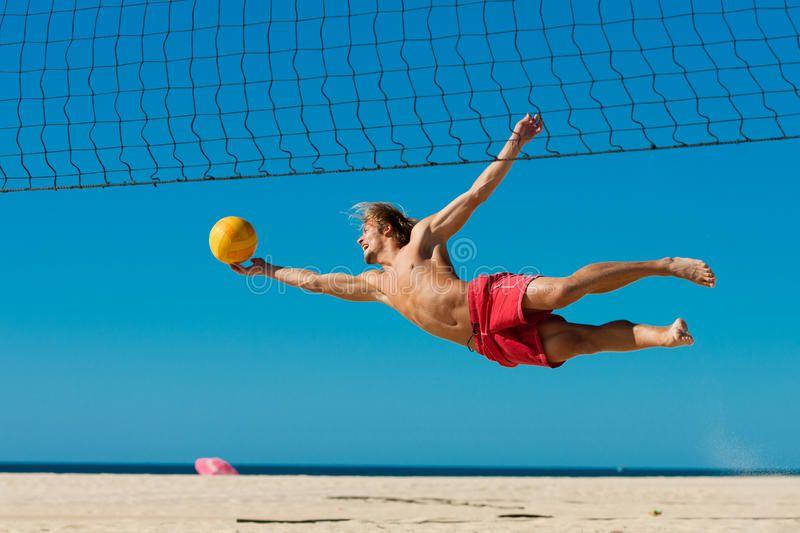 Beach Volleyball Man Jumping Man Playing Beach Volleyball Diving After The Ba Spon Jumping Man Playing Beac Beach Volleyball Men Beach Volleyball