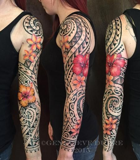 Genevieve Dupre Tropical Flower Polynesian Sleeve Tatoo