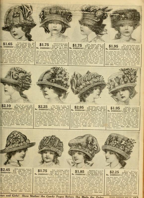 fc562443d84 1912 Women s Hats Sears Catalog no. 124.