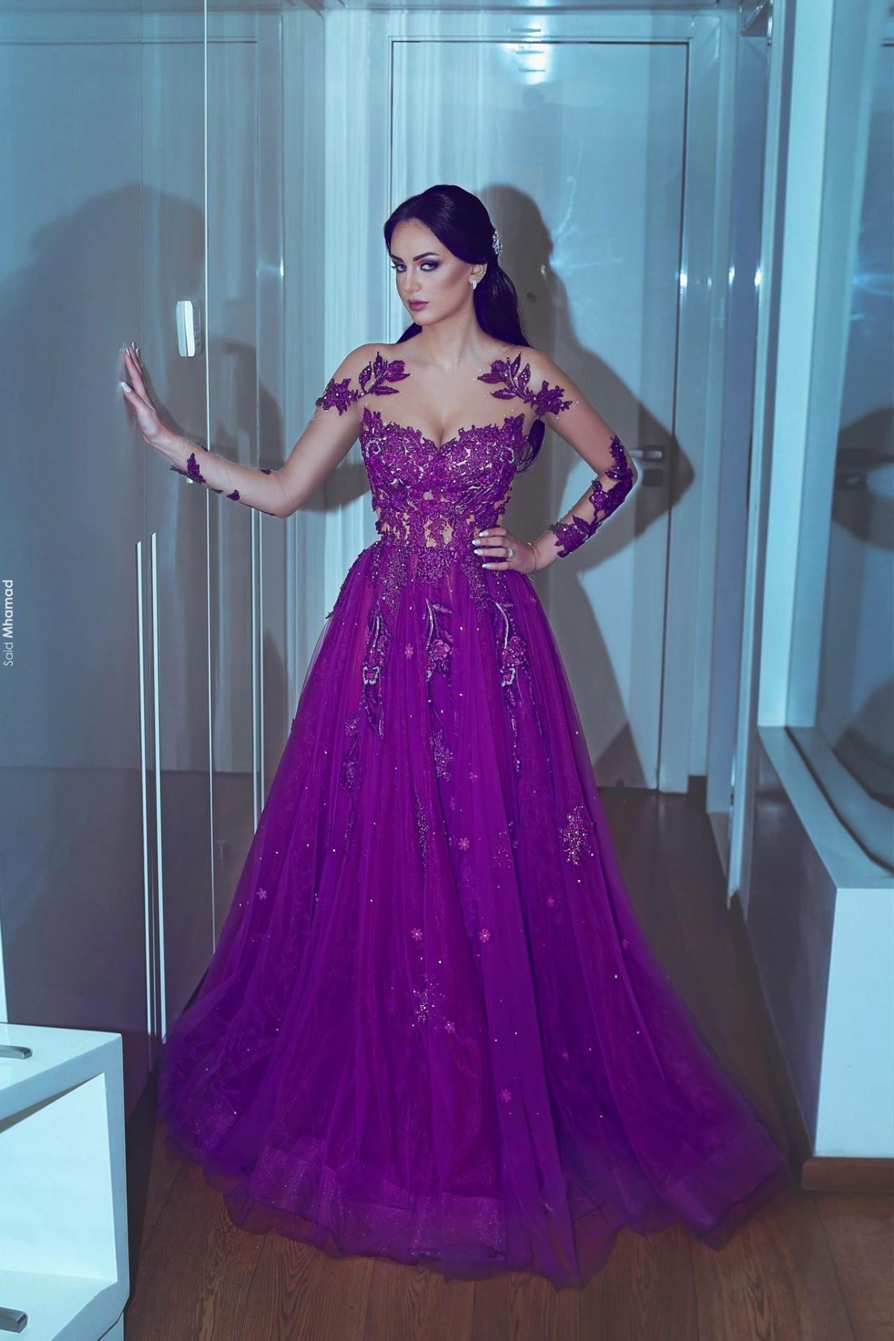 Purple prom dresses sheer crew prom dresses long sleeve prom