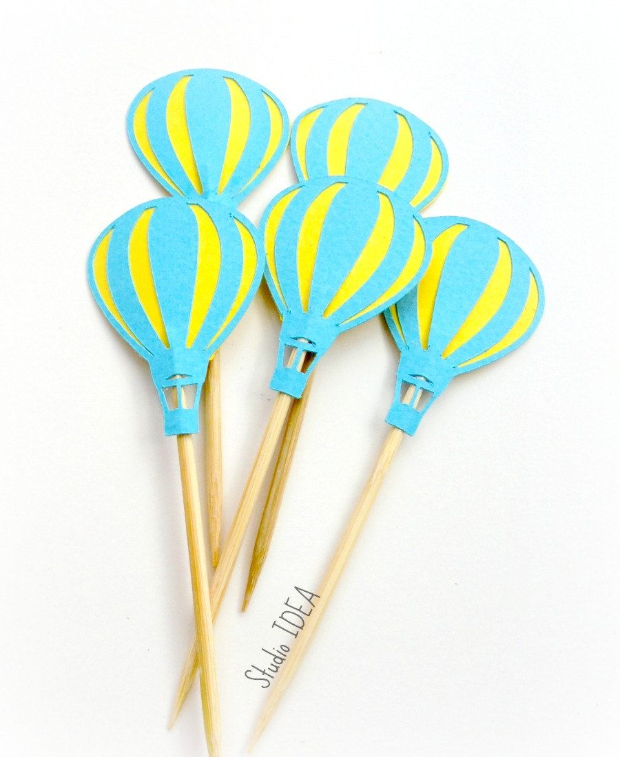 12  light Blue & Yellow Hot-air Balloon Cupcake Toppers- or CHOOSE YOUR COLORS - Set of 12 pcs by StudioIdea on Etsy