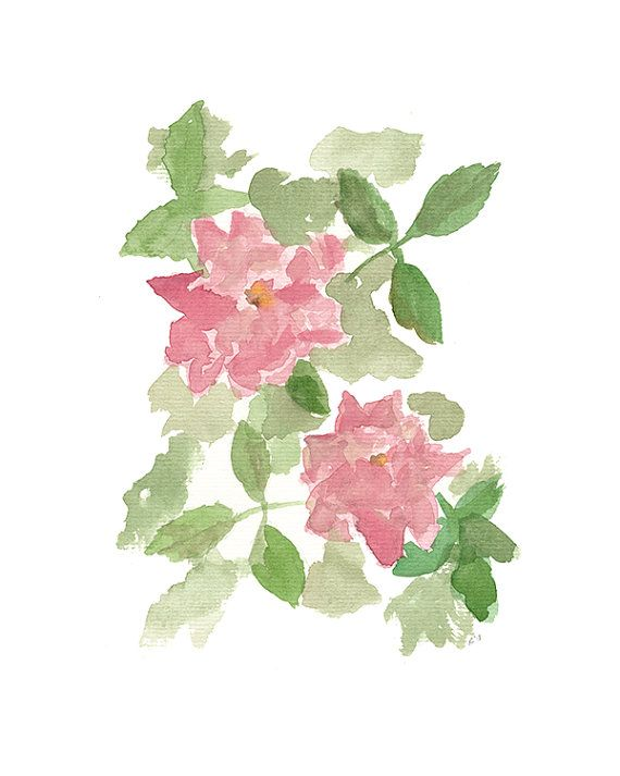 Two Roses  archival print of original watercolor 8 X by reneeanne, $20.00
