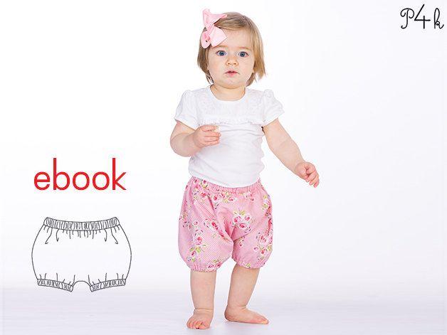 Schnittmuster Retro Baby Pumphose Modell Stella als ebook mit Nähanleitung. Schnitt, download, pdf, Hose, Anleitung, Mädchen, von pattern4kids auf Etsy