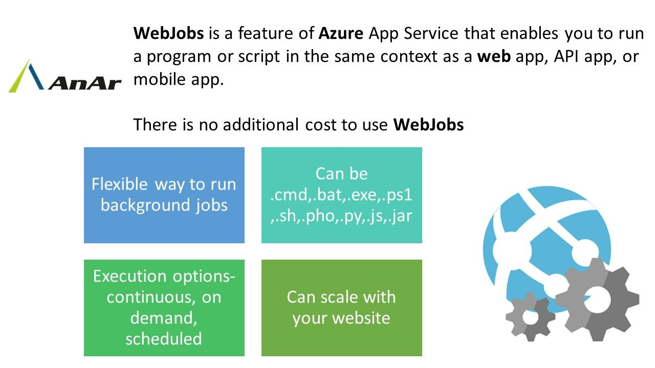 WebJobs is a feature of Azure App Service that enables you