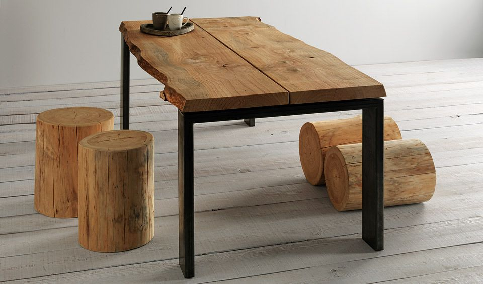 ... in legno con gambe metallo - Tavolo piano in legno cedro naturale