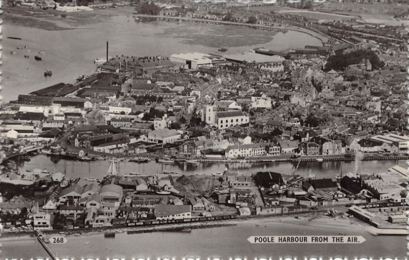 Dorset - POOLE Harbour from the Air, Real Photo # 1 in Collectables, Postcards, Topographical: British | eBay