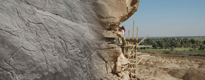 Oldest rock art in egypt discovered. Part of Bovid panel and recording rock art at the Qurta I site. The Kom Ombo Plain is in the background (© RMAH, Brussels)