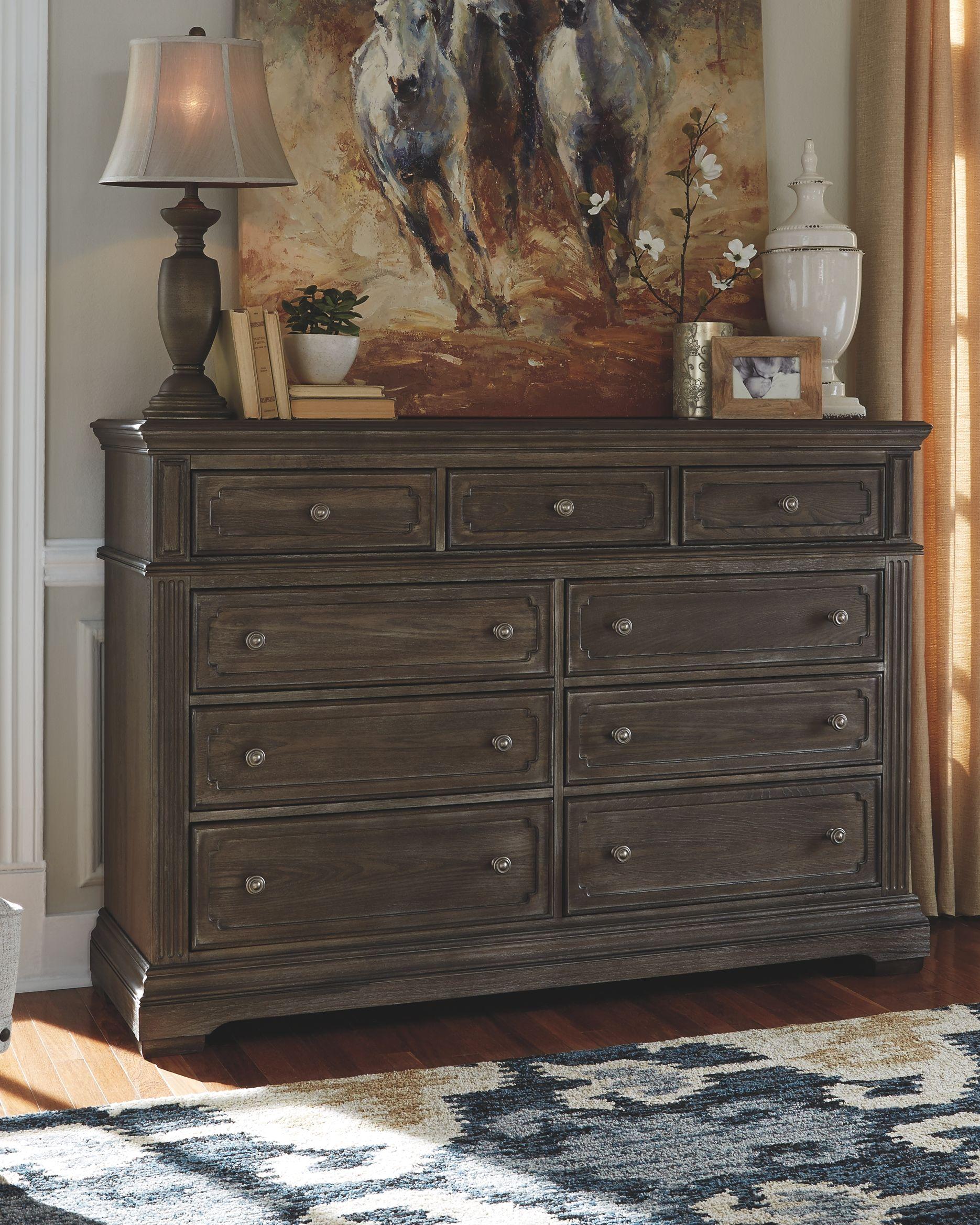 Mikalene Dresser Brown Metallic White Living Room Set