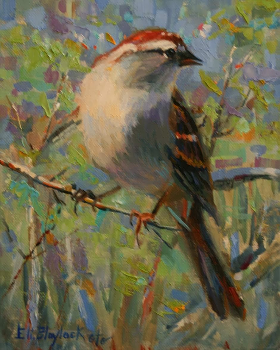 Daily Painters Of Alabama: A SPARROW'S SONG OIL PAINTING BY ELIZABETH BLAYLOCK