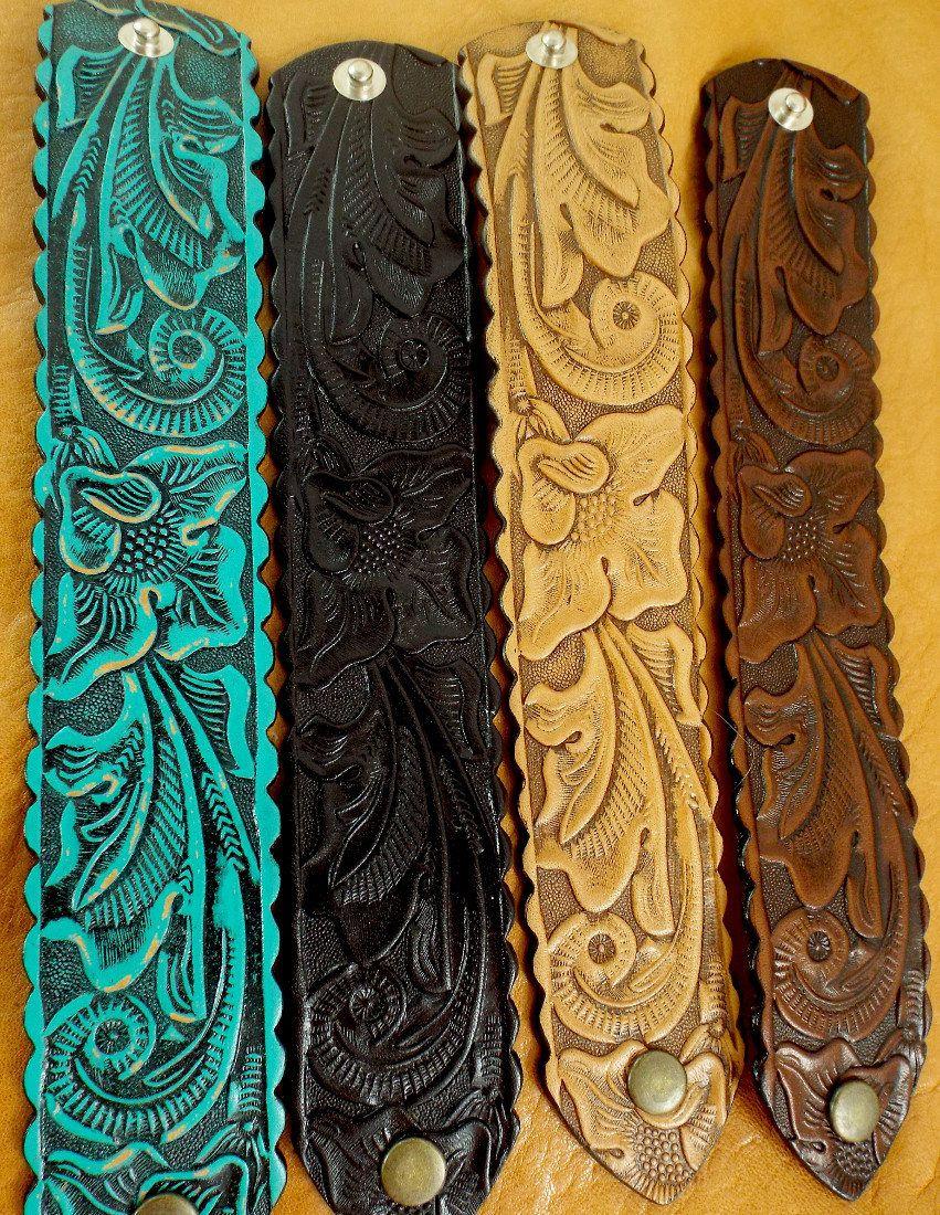 Hand Carved Leather Bracelet