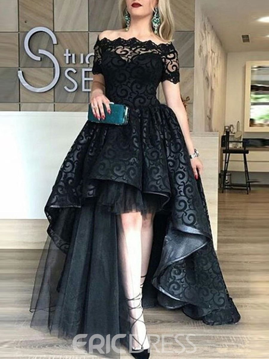 Ericdress Short Sleeves High Low Lace Black Evening Dress Black Wedding Dresses Black Lace Evening Dress Celebrity Evening Dress Evening Dresses [ 1200 x 900 Pixel ]