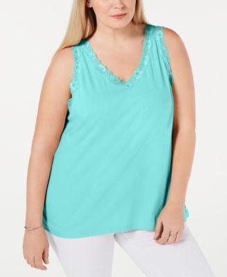 2266c13c4d0 Karen Scott Plus Size Scalloped Lace Tank Top