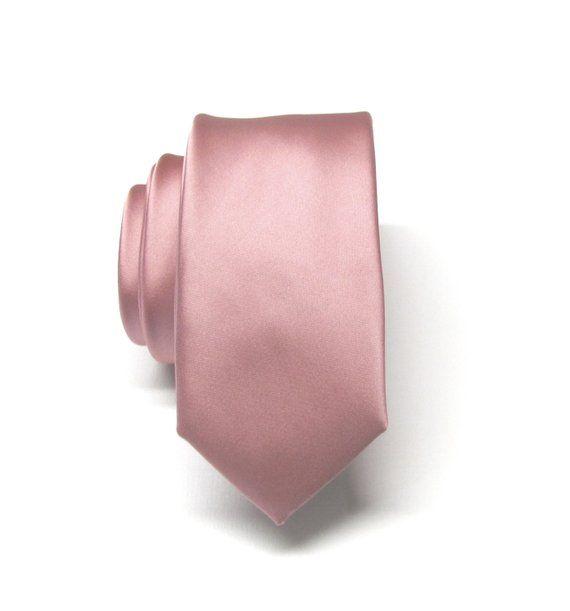 Mens Blush Dusky Pink Plain Skinny Tie Dusty Pink Rose Men/'s Slim Thin