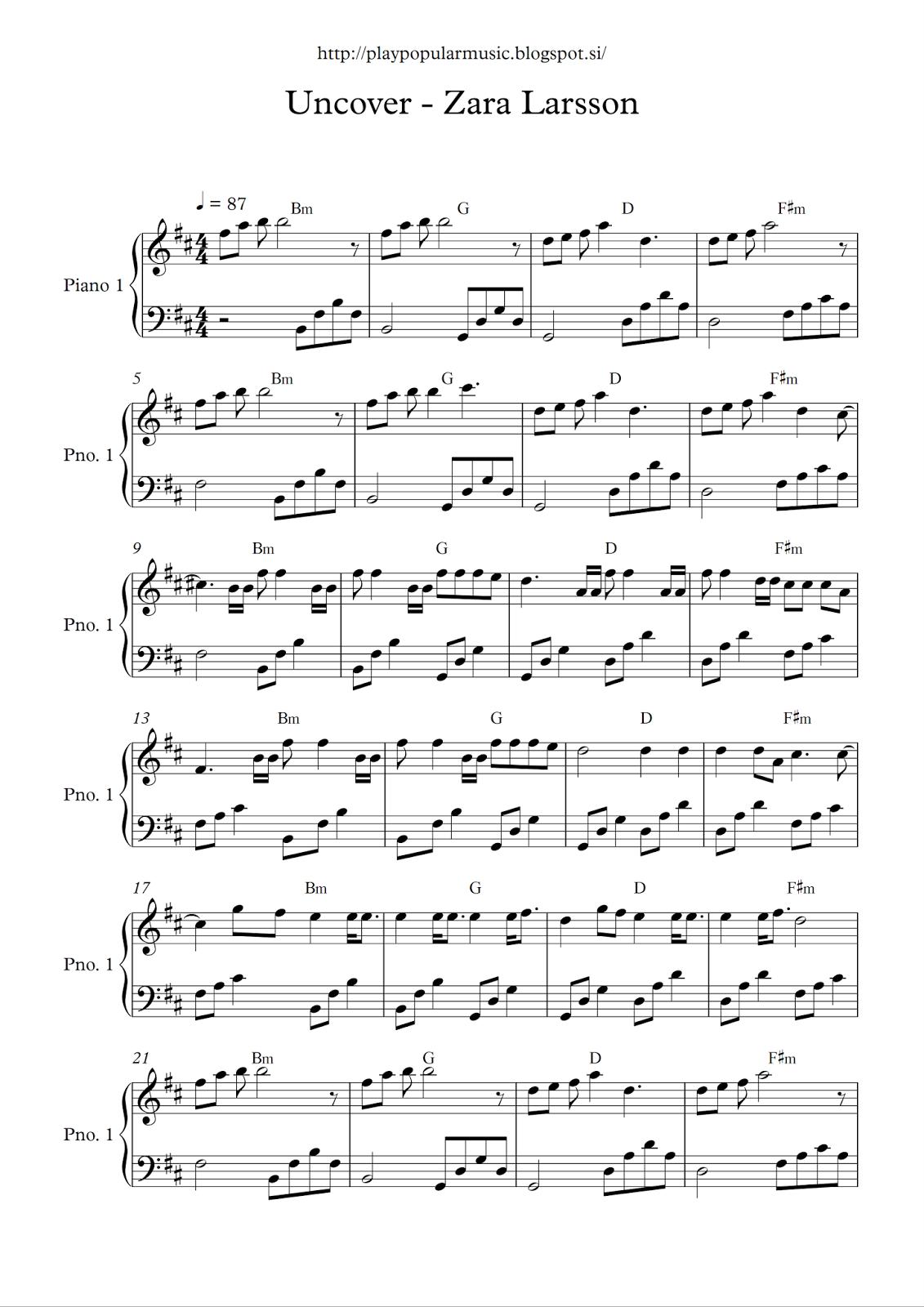 Free piano sheet music Uncover   Zara Larsson.pdf My favourite ...