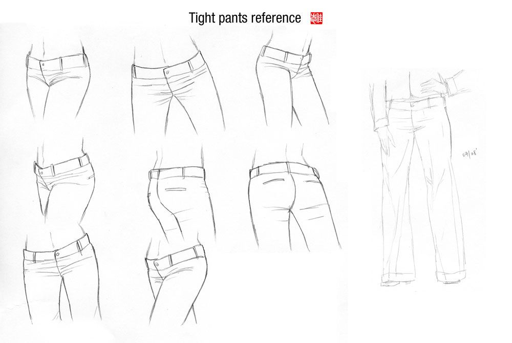 Tight pants reference by randychen.deviantart.com on