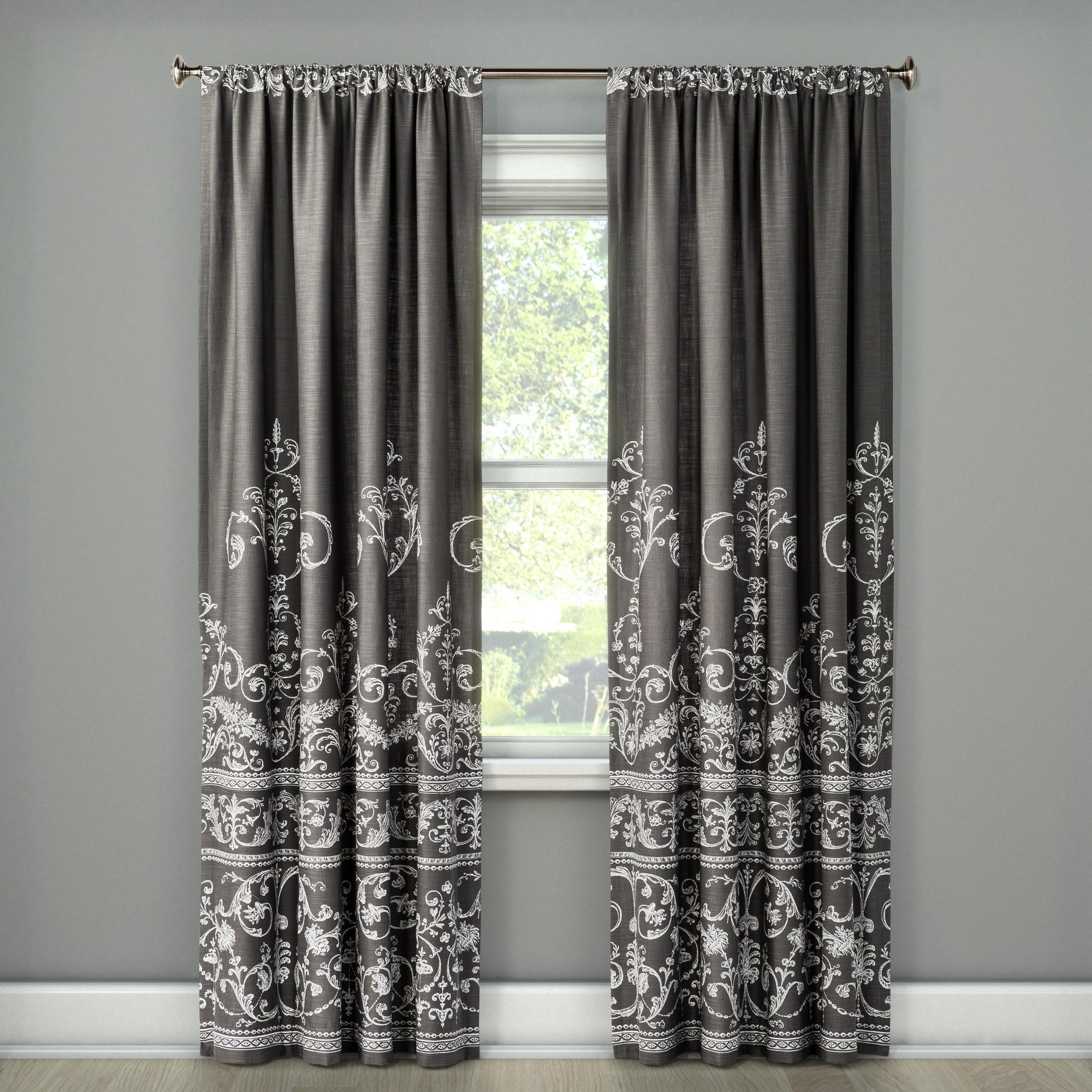Vintage Gate Curtain Panel Dark Gray 55 X95 The Industrial