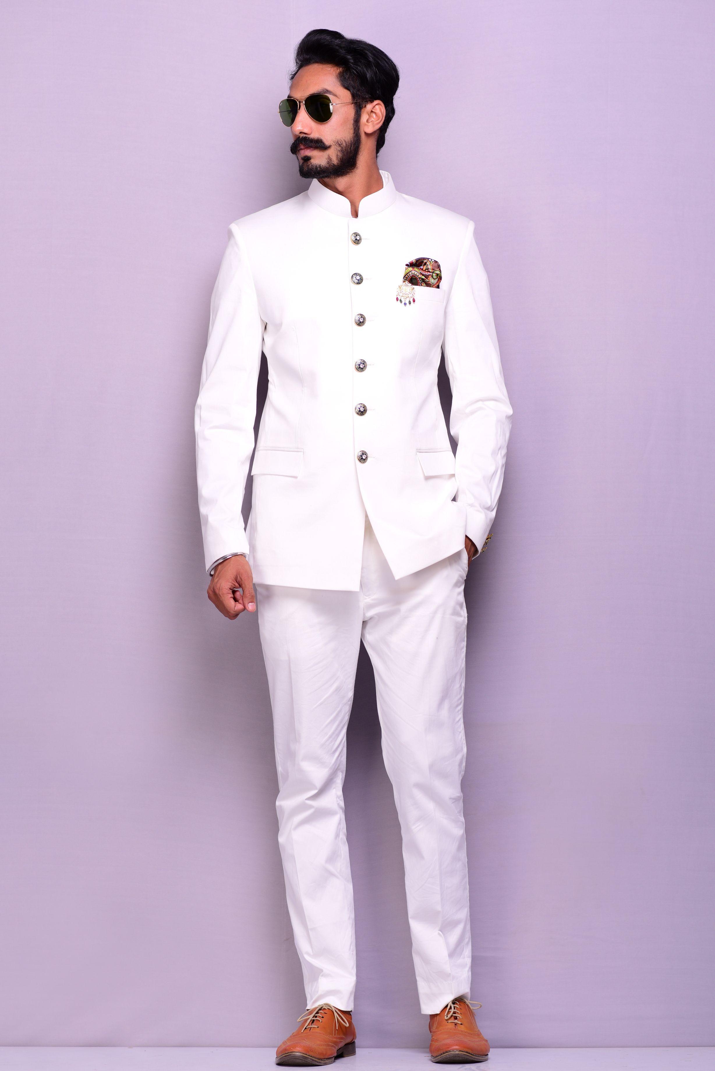 White Designer Bandhgala Jodhpuri Suit Mens Indian Wear