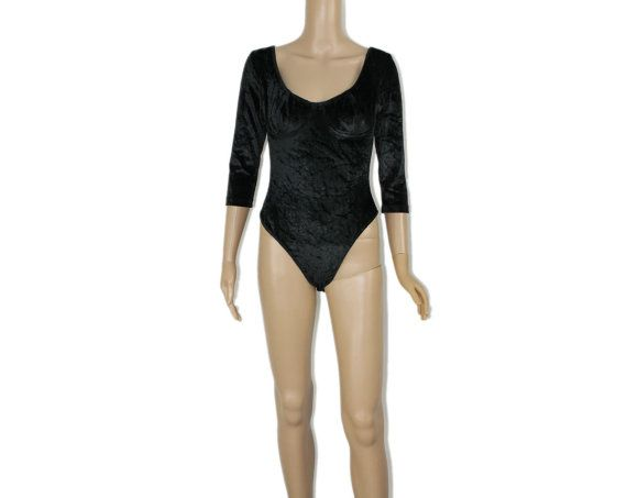 Vintage Velvet Leotard - This soft stretch velveteen bodysuit features a classic U-neck, a built-in bra and quarter-length sleeves. Perfect for dance or layering under skirts, shorts and pants. Double snap crotch. Excellent vintage condition. Label: Tripp - Made in the USA - NYC. Dry clean or hand-wash. Circa: 1980's.