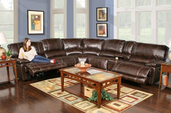 Kaneu0027s Furniture - Leathaire 6 Piece Power Reclining Sectional : power sectionals - Sectionals, Sofas & Couches