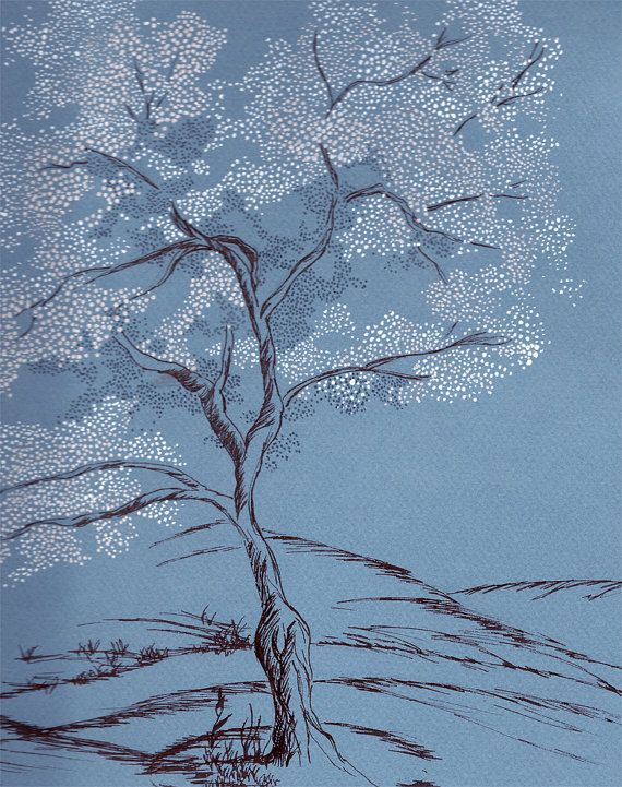 By Kristin Farmer Stipple Cherry Blossom Tree Drawing On Blue Paper By Flairkoncepts 235 00 Tree Drawing Cherry Blossom Tree Art Photography
