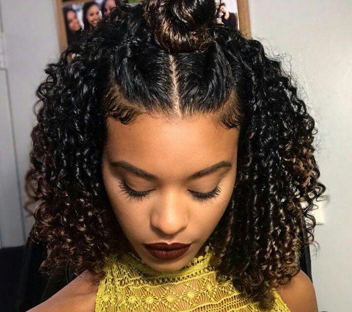 curly hair flat twist bun