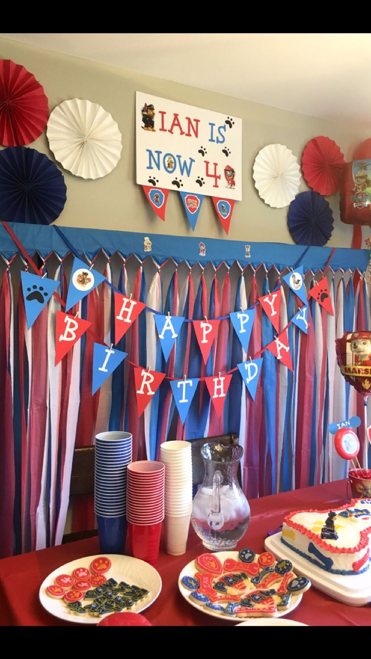 Diy Red Blue White Paw Patrol Party Decoration Paw Patrol