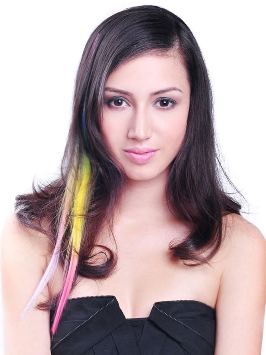 Add a colorful touch to your outfit instantly, without coloring your own hair. Create a chic look.  Synthetic Clip-In Extension Easy to attach and remove Every piece is blended with 2 or more different color