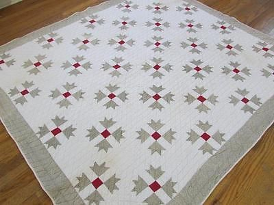 ANTIQUE-Late-19th-c-GOOSE-TRACKS-Red-White-Tan-QUILT-73x65-CLEAN  Vintageblessings