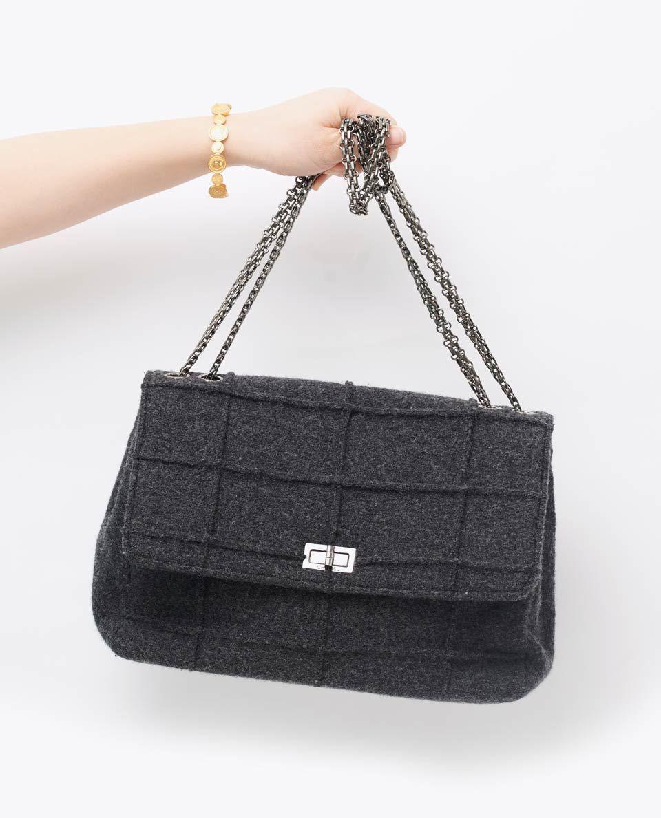 Vintage Chanel Reissue Lock Wool Grey Bag Gallery