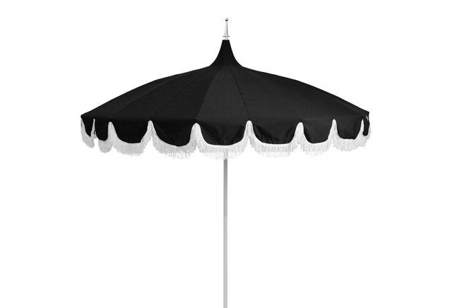 Black And White And Classic All Over Our Aya Pagoda Fringe Patio Umbrella Will Liven Up Any Poolside Deck Or Patio Patio Umbrella Patio Umbrellas Patio