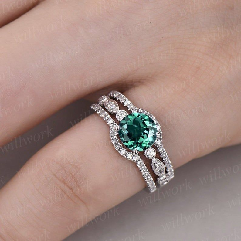 3pc Emerald Engagement Ring Set Rose Gold Art Deco Emerald Etsy Emerald Ring Vintage Emerald Engagement Ring Set White Gold Emerald Ring