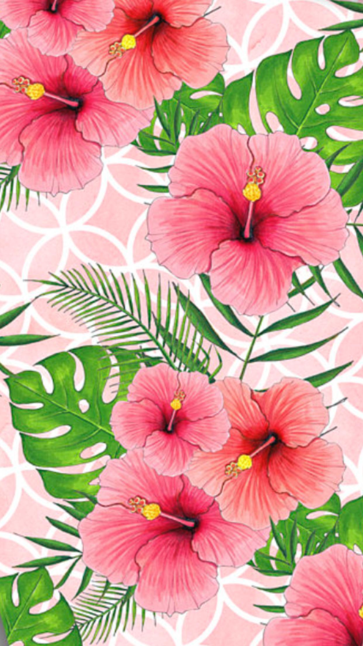 Tropical Floral Pattern Wallpaper Bunga Poster Bunga Tropis
