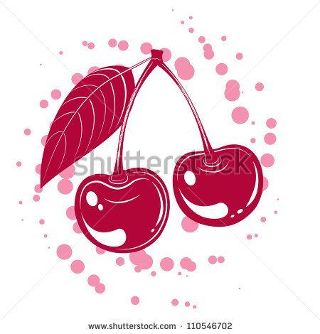 Tasty vector illustration of cherry isolated on white